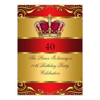 Queen Prince King Regal Red Gold Crown Birthday 11 Cm X 16 Cm Invitation Card