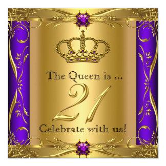 "Queen Princess Regal Purple 21st Birthday Party 5.25"" Square Invitation Card"