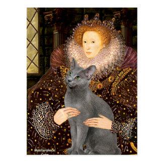 Queen - Russian Blue cat Postcard