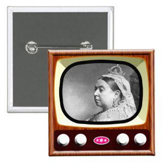 Queen Victoria on Retro TV Pinback Button