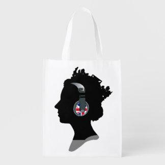 QUEEN WITH HEADPHONES Reusable Grocery Bag