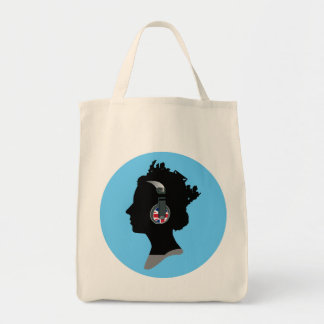 QUEEN WITH HEADPHONES Tote Bag Grocery Tote Bag