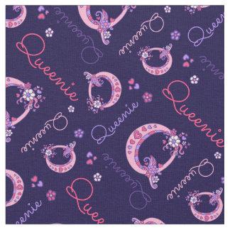 Queenie letter Q monogram heart flowers fabric
