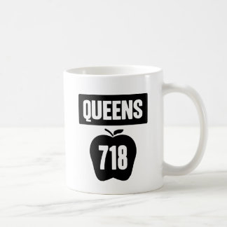 Queens 718 Cut Out of Big Apple &  Banner, 1 Color Coffee Mugs