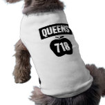 Queens 718 Cut Out of Big Apple &  Banner, 1 Sleeveless Dog Shirt
