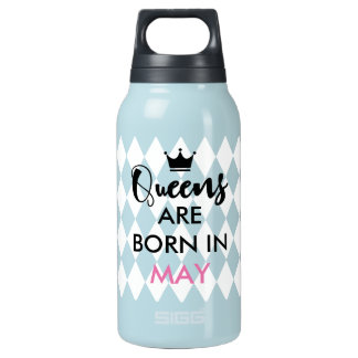 Queens are born in - Custom month, crown, diamond Insulated Water Bottle