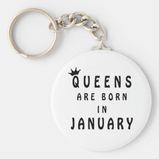 Queens Are Born In January Basic Round Button Key Ring