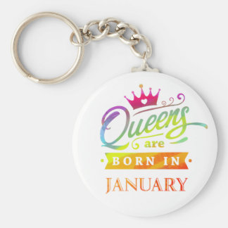 Queens are born in January Birthday Gift Key Ring