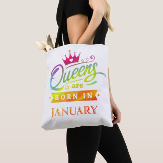 Queens are born in January Birthday Gift Tote Bag