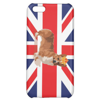 Queen's Corgi with Crown and Union Jack Flag Case
