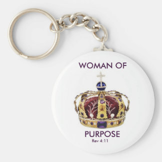 queens crown, WOMAN OF, PURPOSE, Rev 4:11, C4 Basic Round Button Key Ring