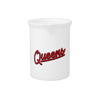 Queens in red beverage pitchers