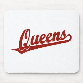 Queens script logo in red mouse pads
