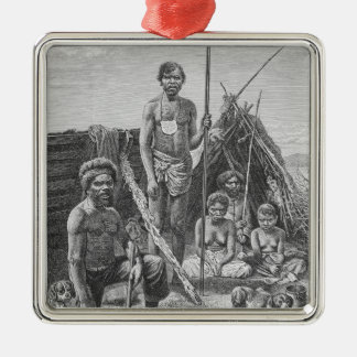 Queensland aborigines engraved from a photograph Silver-Colored square decoration