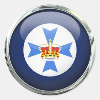 Queensland Flag Glass Ball Round Sticker