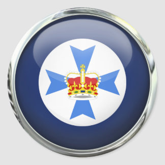 Queensland State Flag Glass Ball Classic Round Sticker