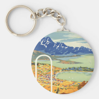 Queenstown, New Zealand Vintage Travel Basic Round Button Key Ring