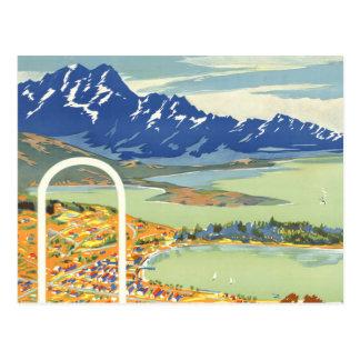 Queenstown, New Zealand Vintage Travel Post Card