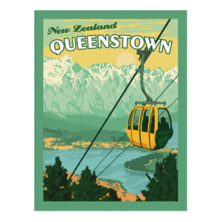 Queenstown New Zealand - Vintage Travel Postcard