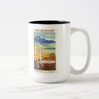 Queenstown, New Zealand Vintage Travel Two-Tone Coffee Mug