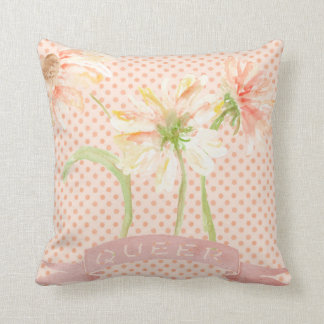 Queer as Flowers Feminist Throw Pillow