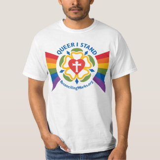 """Queer I Stand"" t-shirt (on light fabric)"