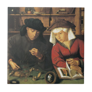 Quentin Matsys The Moneylender and his Wife Tile