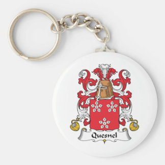 Quesnel Family Crest Basic Round Button Key Ring