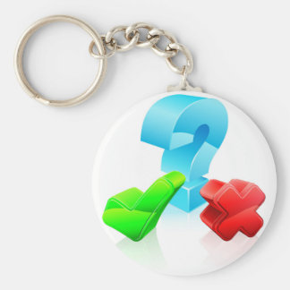 Question and answer concept key chain