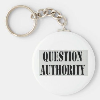 Question Authority Basic Round Button Key Ring