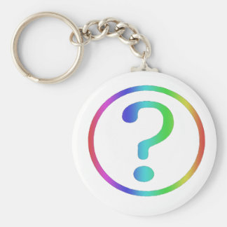 question basic round button key ring