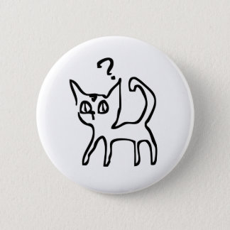 Question Cat Has Question 6 Cm Round Badge
