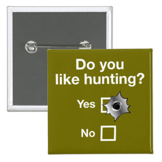 Question: Do you like hunting, Yes or No?, 15 Cm Square Badge