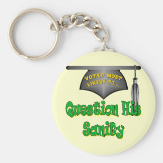 Question His Sanity Basic Round Button Key Ring