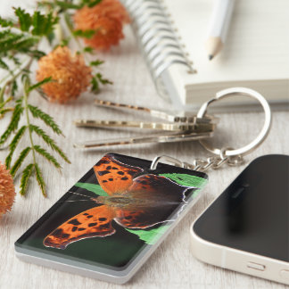 question mark butterfly Single-Sided rectangular acrylic key ring