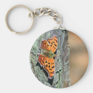 Question Mark Butterfly Basic Round Button Key Ring