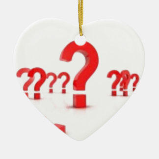 Question mark help ceramic heart decoration