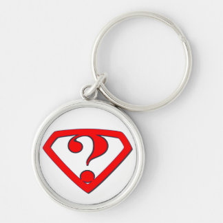 QUESTION MARK ? Silver-Colored ROUND KEY RING
