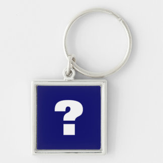 Question Mark Silver-Colored Square Key Ring