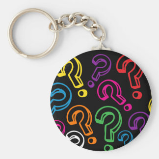 Question Marks Basic Round Button Key Ring