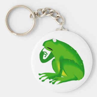 questioning frog basic round button key ring