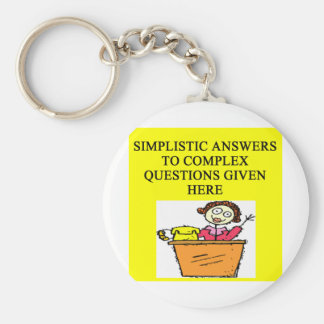 questions and answers joke basic round button key ring