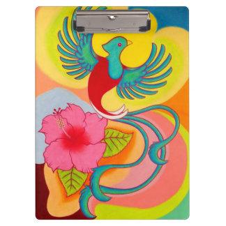 Quetzal Bird and Hibiscus Clipboard
