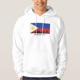 Quezon City Philippines Skyline Filipino Flag Hoodie