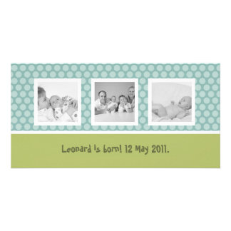 Quick birth announcement with cute polka dots card