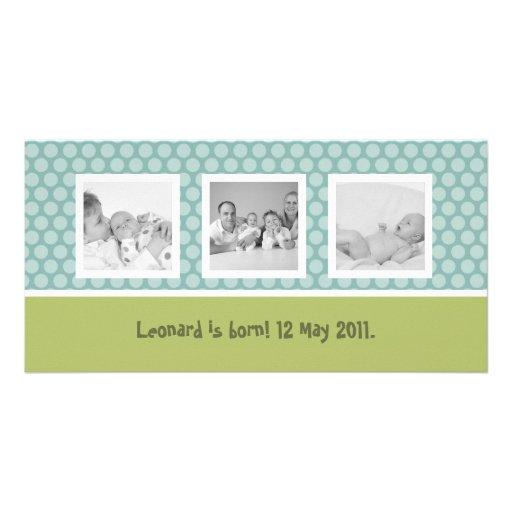 Quick birth announcement with cute polka dots custom photo card