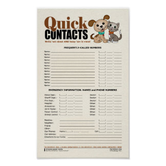 Quick Contacts [Emergency & Frequent numbers] Poster
