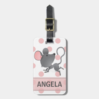 Quiet as a Mouse Cute Polka Dots Personalized Bag Tag