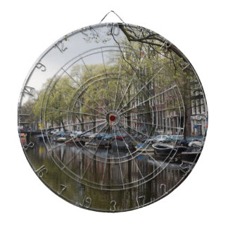Quiet Canal Scene - Amsterdam, Holland Netherlands Dartboard With Darts