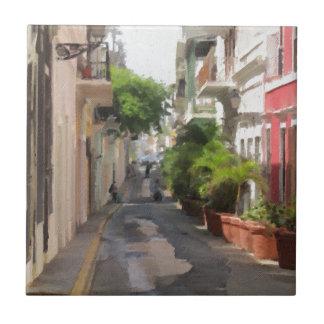 Quiet Little Street of Puerto Rico Ceramic Tile